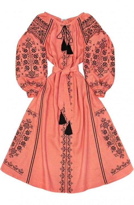 """Довга сукня-вишиванка """"Дівоча Зваба"""" з льону"""