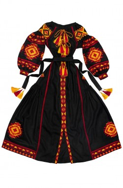 """Довга сукня-вишиванка """"Лісова Пісня"""" з льону"""