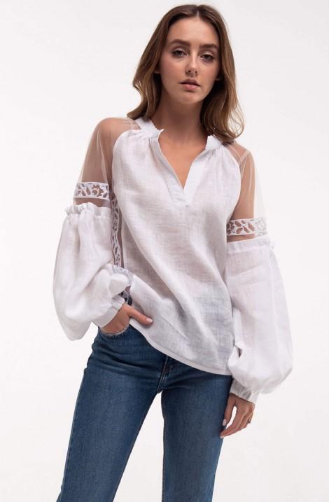 "Біла сексуальна жіноча вишита бохо блуза ""Серпанок"" з 100% льону"