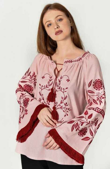 "Рожева дизайнерська жіноча бохо вишиванка ""Чумацький Шлях"""