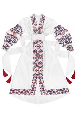 """Довга біла жіноча сукня-вишиванка """"Шарм Традицій"""" з льону"""
