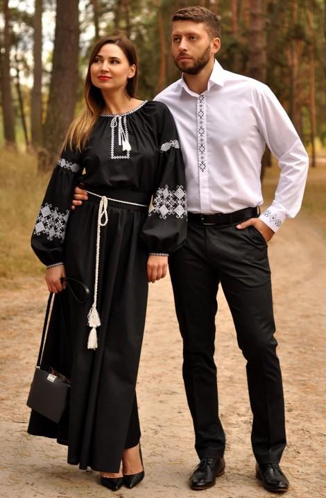 Чоловіча біла сорочка та чорна жіноча вечірня сукня з вишивкою