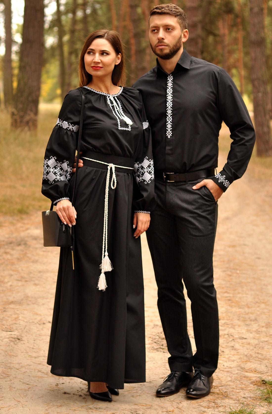 Чоловіча сорочка та жіноча вечірня сукня з вишивкою