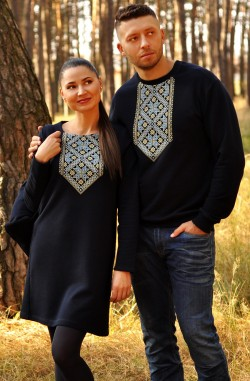 Світшот та сукня з вишитим українським геометричним орнаментом
