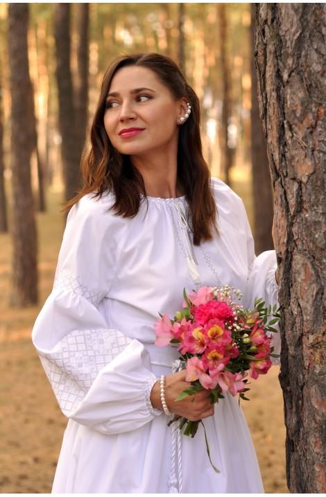 Білий весільний комплект українських вишиванок для пари