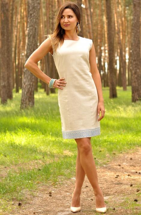 Коротка бежева жіноча сукня-вишиванка з льону