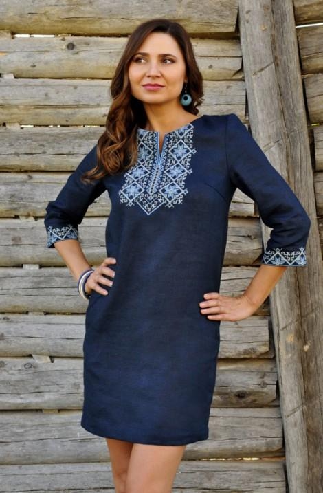 Коротка темно-синя жіноча сукня-вишиванка з льону
