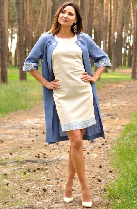 Жіночий комплект сукня-вишиванка та літнє пальто з льону