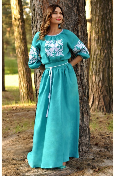 """Темно-синя сукня-вишиванка з клинами """"Лісова Пісня"""""""