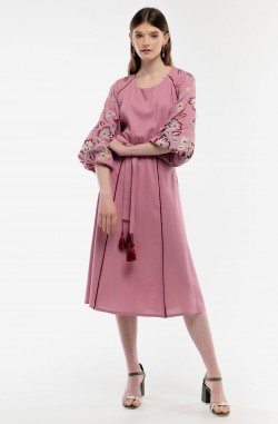 "Velvet dress with embroidery ""Miracle Tree"""