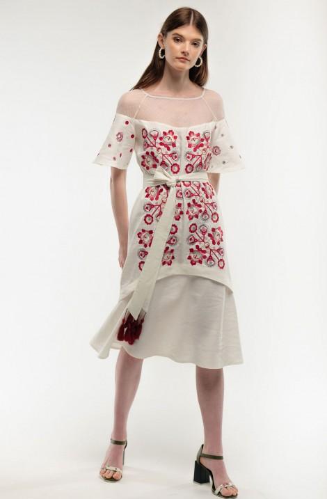 """Короткое платье-вышиванка """"Чудо Дерево"""" бархатное"""