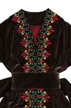 """Оксамитова сукня-вишиванка """"Мідна Квітка"""" з льону"""