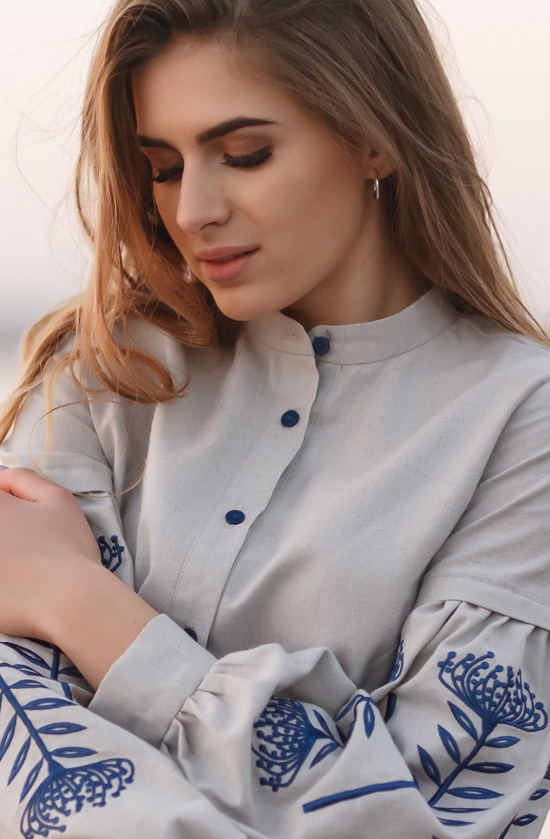Блуза з вишивкою на рукавах